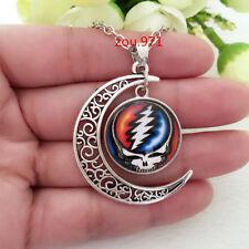 Grateful Dead bear/Glass Hollow Moon Shape Silver Chain Pendant Necklace
