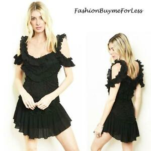 Haute BOHO Black Ruffle Lace Open Shoulder Steampunk Goth Rock Mini Dress S M L