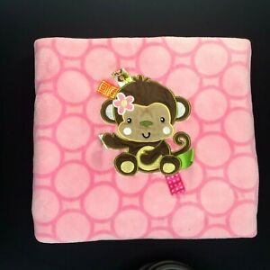 Taggies Monkey Pink Applique Plush Fleece Soft Baby Blanket Circles Tags Lovey