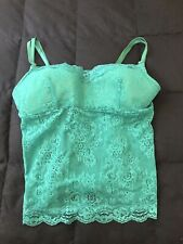 Fredericks Of Hollywood Lace Tank Top Sz S Adjustable Stripes Padded Turquoise
