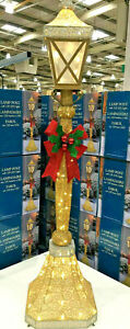Christmas 6ft Gold Glitter Lamp Post with Bow  Indoor Outdoor 120 LED Lights