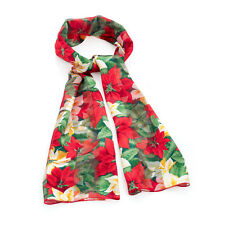 Red and Green Tone Christmas Flower Print Satin Striped Ladies Scarf
