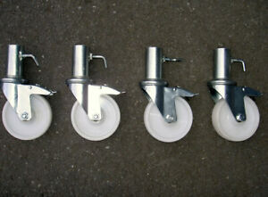 Classic Scaffold Tower Castors - Set of 4 Wheels - White Nylon Wheel