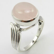 Style Ring # 8.25 Free Shipping 925 Silver Oval Rose Quartz Old