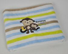 CARTERS Bananas OVER Mommy STRIPED Plush BABY Blanket Lovey Security MONKEY Blue