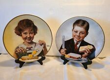 "2 Collectable Plates Norman Rockwell Cross ""Butter Boy"" & Gorham ""Butter Girl"""
