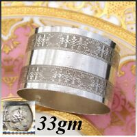 Antique French .800 (nearly sterling) Silver Napkin Ring, Frieze Floral Garland