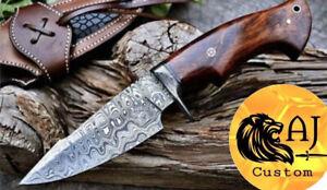 Custom Handmade Damascus Steel HUNTING Knife W/ Wood & Damascus Guard Handle