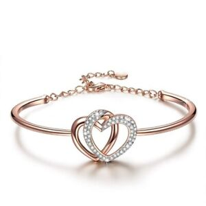 Guardian Of Love Heart Bracelet For Women Rose Gold With Crystals Romantic Gift