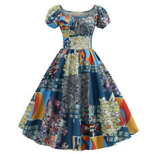 Women Vintage 1950s Retro Short Sleeve Print Evening Party Gown Prom Swing Dress