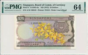 Board of Comm. of Currency Singapore  $25 ND(1972)  PMG  64