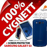 New Cygnett Form Blue Gloss Case For Samsung i9300 Galaxy S3 + Screen Protector