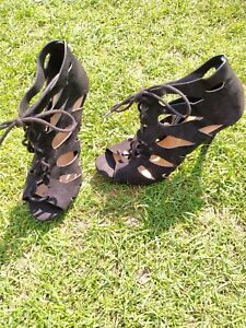 Ladies Black Sandals Tie Up Boot Gladiator heels stilettos 6