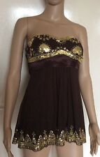 BAY, SIZE 12, BROWN & GOLD BANDEAU/STRAPLESS TOP, BNWT, RRP £24.99