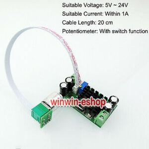DC 5V 12V 24V 1A PWM Motor Speed Regulator Controller Switch For DC Fan Blower