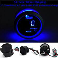 "AU 2"" 52mm Blue Digital LED Elec 0-9999 RPM Tachometer Tacho Gauge Car Motor"