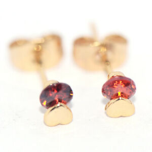 Tiny Heart Stud Earrings Red Ruby Gold Jewelry Little Girls Childrens Jewelry