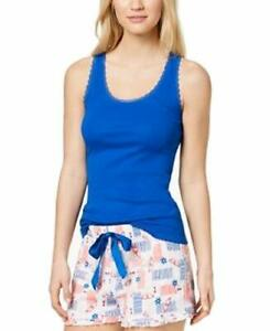 Jenni By Jennifer Moore Solid Ribbed Pajama Tank Top Cobalt Sea Blue L