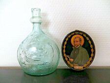Flacon en Verre Soufflé Eau Bénite + cadre St François Régis la Louvesc. XIXe