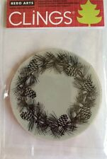 Hero Arts Clings Pinecone Wreath Rubber Stamp* NEW*