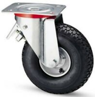 Wheel Wheels Pneumatic Record Iron Bracket Rotating Freno 260x85 Capacity 153 Kg
