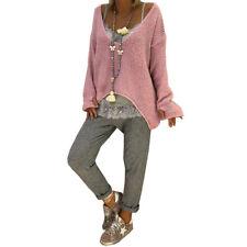Damen Strickhemd Pulli Pullover Baggy Sweater V-Ausschnitt Strickbluse Longtops