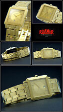 Roamer Unisex Watch Roman Number Swiss Made Folding Clasp Hard Gold Plated NEW