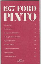1977 FORD PINTO vintage original car owners manual