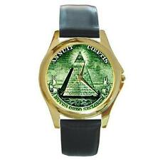 MASONIC MASON PYRAMID EYE SYMBOL GOLD-TONE WATCH