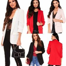 Women Ladies Frill Ruffle 3/4 Sleeve Long Line Stylish Duster Blazer Jacket Coat
