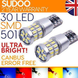 501 W5w Led 30 Smd Power Xenon White T10 Capless Sidelight Side light Bulbs
