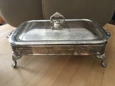 Vintage Silver Plated Chafing Buffet Dish Footed Marinex 12 x 7.5