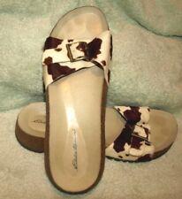 EUC **EDDIE BAUER** Calfskin Print Leather Comfort Sandal Slides, 8 M