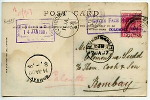 THOS COOK CEYLON 1907 PC from Galle to Bombay [c/o Cook] Bombay - water stained