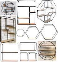 Retro Wall Storage Unit Metal Wood Industrial Style Shelves Vintage Shelf Rack