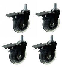 "4/pk Dia 3"" rollerblade Heavy duty wheels Soft PU casters with brake M10 Stem"