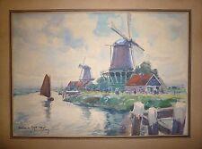 Raoul Serres aquarelle signée sneek moulins de hollande Estienne Paris