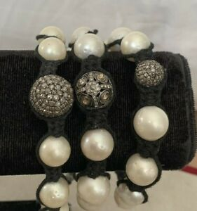 Pave Diamond Sterling Ball And Pearls Shamballa Macramé Bracelet