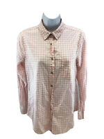 J.Crew Women's Pink/White Plaid Long Sleeve Button Up Top Shirt Sz S