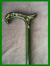 NEW! LADIES MOTHER OF PEARL INLAID BIRDS GREEN WOODEN DERBY HANDLE WALKING CANE