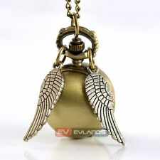 Vintage Ball Eyes Wing Necklace Pendant Quartz Antique Chain Gift Pocket Watch