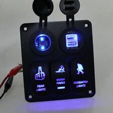 Aluminium Alloy Switch Panel Circuitblue Led Rocker Breaker Car Boat Marine