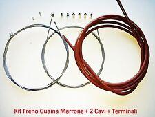 """Kit Freno Guaina Marrone + 2 Cavi + Terminali per bici 26""""-28"""" Corsa Vintage"""