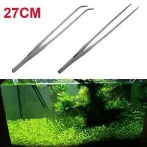 27cm Aquarium Fish Tank Live Plant Curve Long Tongs Stainless Steel Tweezers Kit