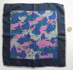 Italian silk pocket handkerchief with black border rolled hem 13 inch square a
