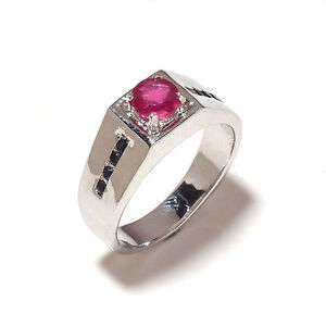 Natural Fine Sapphire & Ruby Gem Stone Men Ring Sterling Silver 925 Us Size 7 8