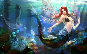 Abstract Girl Fantasy Mermaid Ocean Wall Art Large Framed Canvas Picture