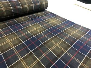 ROLL 15 metres blue green check tartan wool rich dress craft coat suit fabric