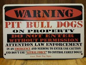 "Metal Warning Pit Bull Dogs Sign For FENCE ,Beware Of Dog 8""x12"""