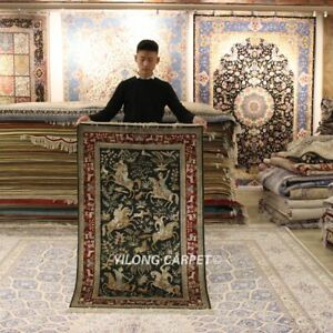 YILONG 3'x5' Hunting Scene Handwoven Silk Carpet High Density Tapestry Rug 286H